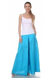 Юбка-брюки льняная бирюзовая