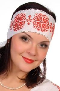 Очелье с вышивкой льняное (белое)