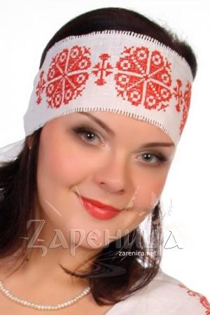 Очелье с вышивкой льняное (белое),