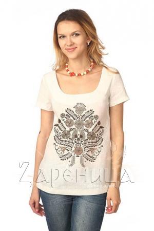"""Блуза с коротким рукавом """"Полевой Букет"""" белая,"""