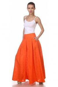 Юбка-брюки льняная оранжевая