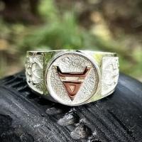 """Перстень """"Велес"""" серебро и золото"""