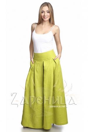 Юбка-брюки льняная светло-зелёная,