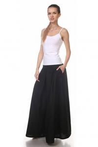 Юбка-брюки льняная чёрная