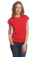 Блуза со спущенным плечом красная