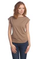 Блуза со спущенным плечом коричневая