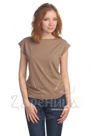 Блуза со спущенным плечом коричневая,