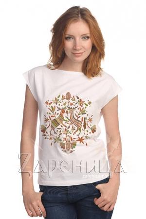 """Блуза со спущенным плечом """"Русский Север"""" белая,"""