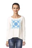 """Блуза с удлиненной спинкой """"Цвет Зимы"""" белая"""