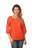 Блуза с объёмным рукавом оранжевая