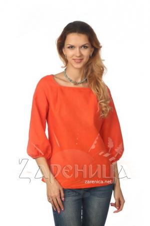 Блуза с объёмным рукавом оранжевая,