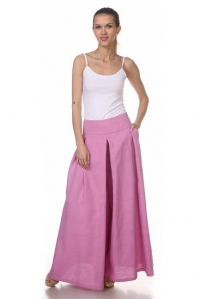 Юбка-брюки льняная розовая