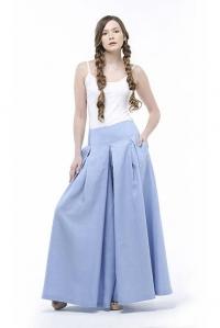 Юбка-брюки льняная голубая
