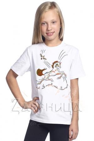 """Футболка для девочек белая """"Волшебный Конь"""" оранжевый,"""