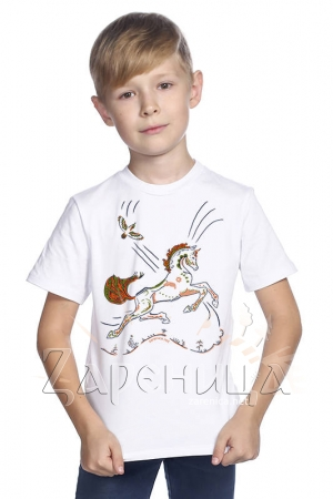 """Футболка для мальчиков белая """"Волшебный Конь"""" оранжевый,"""