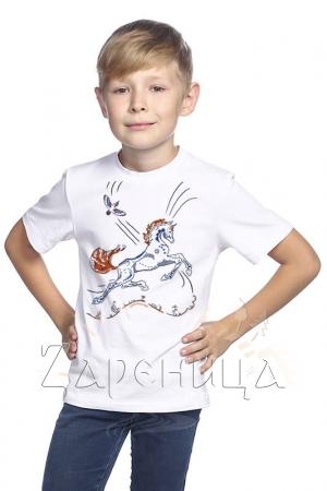 """Футболка для мальчиков белая """"Волшебный Конь"""" синий,"""