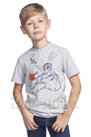 """Футболка для мальчиков серая """"Волшебный Конь"""" синий,"""