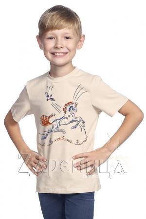 """Футболка для мальчиков бежевая """"Волшебный Конь"""" синий,"""
