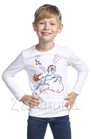 """Джемпер для мальчиков белый """"Волшебный Конь"""" синий,"""