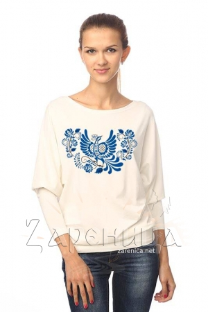 """Блуза """"Синяя Птица"""" летучая мышь белая,"""