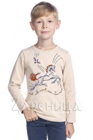 """Джемпер для мальчиков бежевый """"Волшебный Конь"""" синий,"""