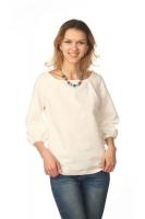 Блуза с объёмным рукавом белая