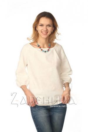 Блуза с объёмным рукавом белая,