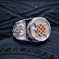 Перстень Звезда Руси с золотом