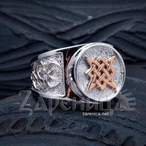 Перстень Звезда Руси с золотом,