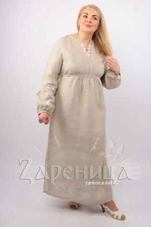 Платье из льна с вышивкой,