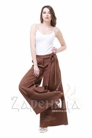 Льняные брюки коричневые,