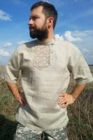 Косоворотка с ручной вышивкой серая