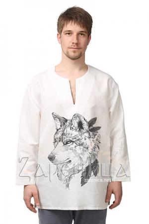 Рубаха льняная «Царь леса» белая,