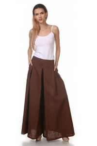 Юбка-брюки льняная коричневая