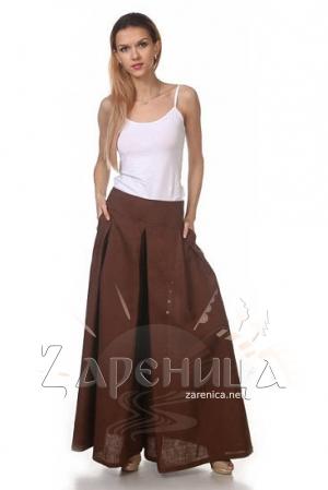 Юбка-брюки льняная коричневая,
