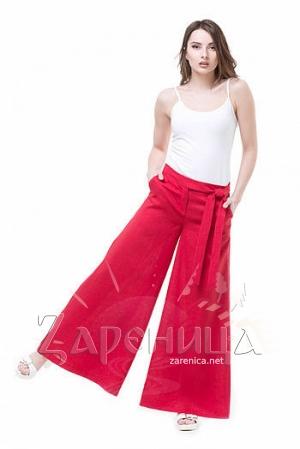 Льняные брюки красные,