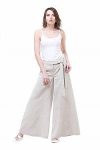 Льняные брюки серые