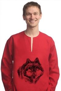 Рубаха льняная «Волк» красная