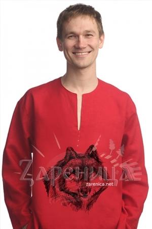 Рубаха льняная «Волк» красная,