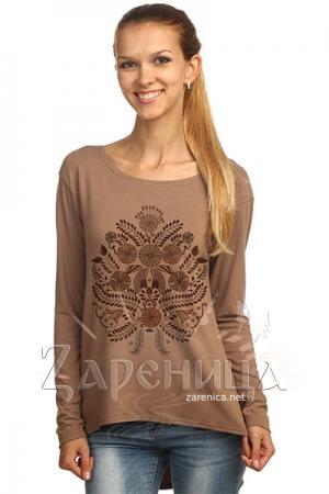 """Блуза с удлиненной спинкой """"Полевой Букет"""" коричневая,"""