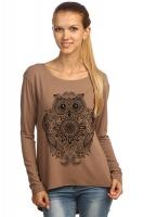 """Блуза с удлиненной спинкой """"Сова"""" коричневая"""