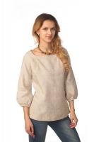 Блуза с объёмным рукавом серая