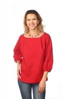 Блуза с объёмным рукавом красная