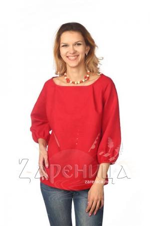 Блуза с объёмным рукавом красная,