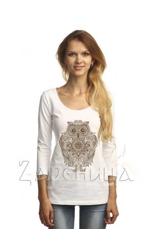 "Блуза с рукавом 3/4 ""Сова"" белая,"