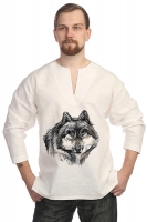 Рубаха льняная белая «Волк»