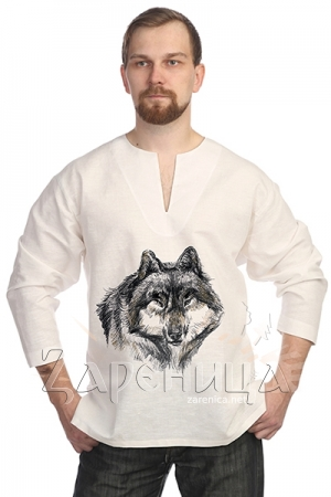 Рубаха льняная белая «Волк»,