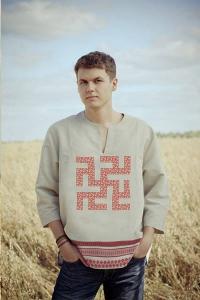 Рубаха льняная «Одолень трава» белая