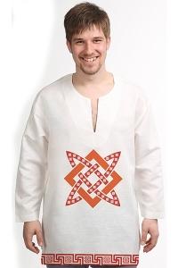 Рубаха льняная белая «Сварогов квадрат»