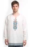 Рубаха льняная «Васильки» белая